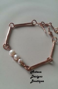 White Pearl Hammered Copper Bracelet by AztecaDesignsBoutique for $42.00
