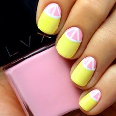 Pink lemonade nails