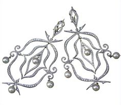 Cathy Waterman Bow and Arrow Platinum, Diamond and Pearl Earrings