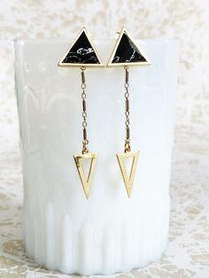 Double Triangle Earring // Art Deco Arrow Earrings // Gold and Black Earrings // Double Dangle Post Earrings // Dangle Triangle Stud Earring by ransomjewelry on Etsy