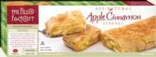 Apple Cinnamon Strudel (22 oz.) - We use the finest ingredients in our strudels-and it shows! Crisp Granny Smith #apples caramelized with sweet creamy butter and sugar are delicately seasoned with cinnamon, lemon, vanilla and a hint of nutmeg, then wrapped in cake crumb sprinkled layers of fillo. All #Natural, #Vegetarian, #Kosher OU-Dairy, Yeast Free, No Trans-Fat. See nutrition or shop online at www.fillofactory.com/desserts.html