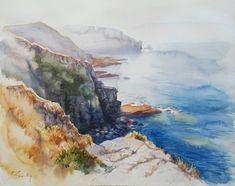 Cette aquarelle originale représente une vue du littoral dans le nord de la Bretagne près du phare du Cap Freyel- un des plus beaux paysages naturels du littoral français. aquarelle originale sur papier Arches. dimensions: 57cm X 45cm. Vendu sans cadre. Frais de livraison inclus