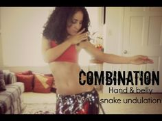 Belly dance snake combination: arm and belly undulations
