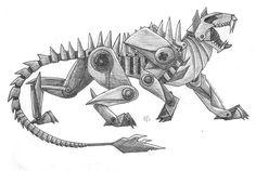 Robot panther by wolfsouled on DeviantArt Robot Dragon, Dragon Art, Animal Sketches, Animal Drawings, Animal Robot, Lion Sketch, Robots Drawing, Arte Steampunk, Hybrid Art