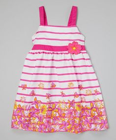 Another great find on #zulily! White & Pink Floral Stripe Dress - Girls by Longstreet #zulilyfinds