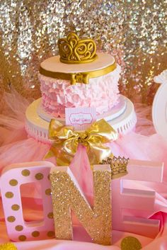 Pink and Gold Birthday Party decorations! See more party planning ideas at CatchMyParty.com!