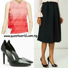 Top size 10 #4500 Skirt size 10 12 14 16 #6500 Next Shoes size 6/39 6.5/40 #15000 www.questworld.com.ng Nationwide delivery. Spend 20k get a free top!