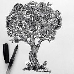 21 Super Ideas For Zentangle Art Dibujos Arbol Doodle Art Drawing, Zentangle Drawings, Mandala Drawing, Art Drawings Sketches, Zentangles, Zen Doodle, Mandala Art Lesson, Mandala Artwork, Pen Art