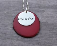Candy Apple Red Tagua Nut Necklace With sterling silver personalized disc with your word. #handmade #taguanut @klacustom