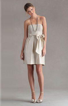 Shangtung Strapless Slight Sweetheart A-line Bridesmaid Dress