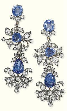 antique sapphire diamond earrings by  Barberini 1850