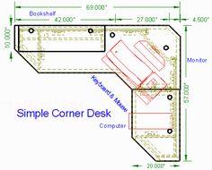 Simple Corner Desk top view -- http://woodwaredesigns.com/simpledesks/simplecorner50.html#