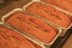 """This is just too yummy!! I had 3 recipes for pumpkin bread that were just """"ok"""". So, I played around with the recipe and this is what I came up with. And let me just say WOAH!! So good! Pumpkin Bread 3 cups canned pumpkin puree 1 cup vegetable oil 1/2 cup applesauce 4 cupsContinue Reading"""