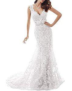 deba27a15b9 YSMei Womens Illusion Back Mermaid Wedding Dress for Bride Lace Formal Gown  with Train Ivory Custom