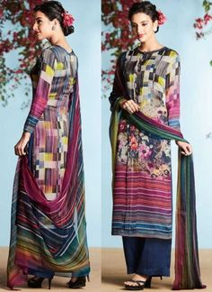 Navy Blue Printed Satin Georgette Designer Casual Pakistani Palazzo Suit http://www.angelnx.com/Salwar-Kameez/Pakistani-Suits