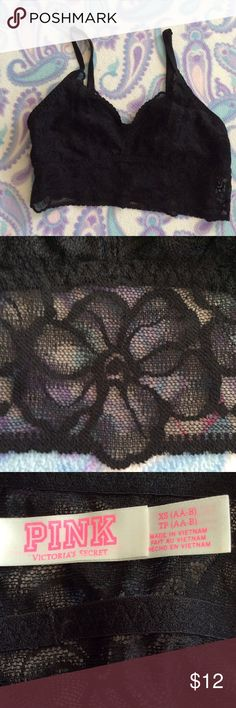 Black lacy bralette Pretty black bralette, adjustable straps. XS (AA-B) .. PINK Victoria's Secret Intimates & Sleepwear Bras