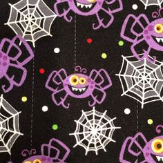 Frightful & Delightful Glow in the Dark Black Halloween Print/ Spiders and Webs/ Henry Glass Cotton Quilting Fabric By the Yard Halloween Fabric, Halloween Prints, Quilt Border, Trick Or Treat Bags, Cotton Quilting Fabric, Rug Making, Accent Decor, The Darkest, Glow