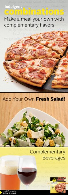 A fresh salad and a light lager complements the robust flavor of our Crispy Thin Crust Signature Pepperoni pizza for a delicious well-rounded meal.