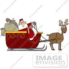 Santa and Sleigh Graphics | Clip Art Graphic of Santa and His Sacks in a Sleigh Being Pulled by ...