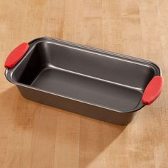 Loaf Pan with Red Silicone Handles by Home-Style Kitchen™ - Zoom