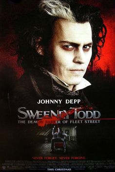 Sweeney Todd: The Demon Barber of Fleet Street (Johnny Depp, Helena Bonham Carter). The only musical movie I know of that's rated R for blood and gore (though, most of it is very, very fake!). It is very dark, morbid almost. The music is pretty epic, with a sinister feel. Yes, the main character is a murderer. (I didn't know Johnny could sing!) As twisted as the whole story is, the message of the musical is simple: Revenge will blind you. I love it, but obviously, it's not for kids!