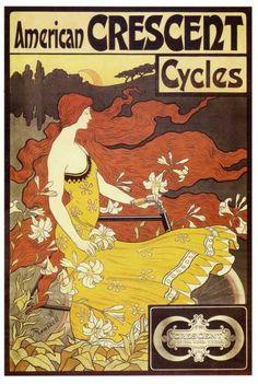 Amerikai CRESCENT kerékpár szecessziós reklámplakát reprodukció poszter vászonnyomat
