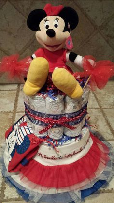 Minnie Mouse Baby Girl Diaper Cake or by 209 Diaper Cakes & Gifts on Etsy