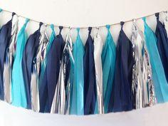 Tissue paper tassel garland navy blue turquoise blue by PomJoyFun