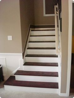 from carpet to hardwood...DIY. Need to do - carpet on steps is trashed from the kids!