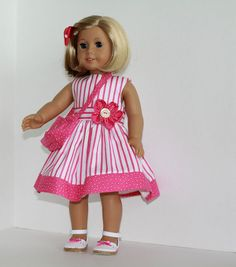 American Girl Doll Spring Dots and Stripes by SewSpecialByBarb, $45.00