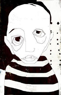 Linda Vachon (aka Les Brumes, from St. Painting Inspiration, Art Inspo, Arte Peculiar, Art Et Illustration, Art Graphique, Weird Art, Portrait Art, Face Art, Figurative Art