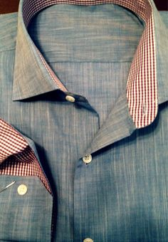 Custom shirt from Noble Custom Clothier. Navy Chambray with lavender gingham interior collar and cuff.