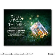 fireflies mason jar rustic romantic save the date postcard