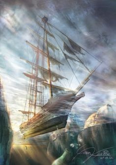 illustration by Kevin KY Yan Fantasy Landscape, Fantasy Art, Ship Figurehead, Cool Artwork, Dark Art, Sailing Ships, Amazing Art, Concept Art, Scenery