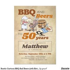 Shop Rustic Cartoon BBQ And Beers Birthday Invitation created by gnurf. Birthday Bbq, Birthday Parties, 50th Birthday Invitations, Party Places, Old Paper, Invitation Cards, Rsvp, Beer, Party Ideas