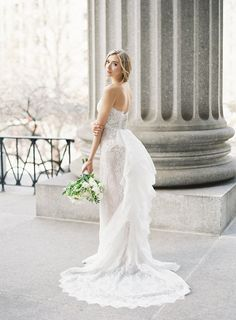 Modern Romantic Wedding at the Four Seasons in New York City. Photography:Judy Pak/ Planning:Classic Events/ Floral Design:Belle Fleur/ Invitations & Day-of Stationery:Fourteen-Forty/ Wedding Dress:Marchesavia Gabriella Bridal/ Shoes: Valentino/ Models: Anastasia Gatala-Korsun &Nick Ovington / Cake: Ron Ben-Israel Cakes /Videography:Richard Photo Lab/ Venue:Four Seasons, NY As seen on Style Me Pretty. #fourteenforty #1440nyc