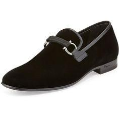 Salvatore Ferragamo Party Velvet Gancini Loafer ($725) ❤ liked on Polyvore…
