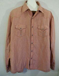 b147a43a Ryan Michael Western Shirt Silk Linen Blend Metal Star Snaps Fine Red  Checks XXL #RyanMichael