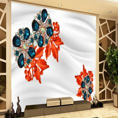 Free Shipping Silk ornament gemstone jewelery flower sofa TV background wall wedding room walkway wallpaper mural