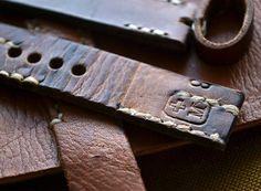 Handmade 20mm Swiss ammo leather watch strap vintage military