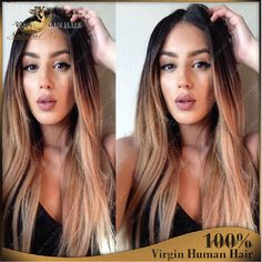 Brazilian Human Hair Glueless Wig 1B/27 Ombre Silky Straight Middle Part Full…