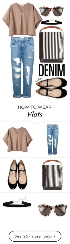 """Distressed Denim"" by nsbw on Polyvore featuring Frame, Apiece Apart, Marni, Gentle Monster, Acne Studios and distresseddenim"