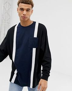 7eecaa8e25c7 ASOS DESIGN oversized long sleeve t-shirt with pocket and vertical colour  block in black