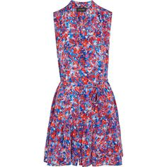 Saloni Tilly printed silk dress ($440) ❤ liked on Polyvore featuring dresses, red and white floral dress, blue floral print dress, flower print dress, ruffle hem dress and blue a line dress
