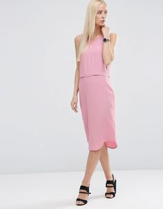 ASOS+Split+Front+Layered+Column+Dress