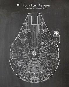 Star Wars Printable Star Wars Millennium Falcon by ThePastPrints Printable Star Wars, Printable Art, Cuadros Diy, Cuadros Star Wars, Star Wars Painting, Images Star Wars, Star Wars Facts, Star Wars Drawings, Millenium Falcon