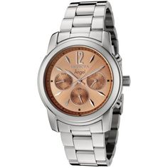 Invicta Women's 0462 Angel Collection Stainless Steel Watch. Precise Swiss-quartz movement. Durable flame-fusion crystal; polished stainless steel case and bracelet. Day, date and 24-hour subdials. Peach dial with silver-tone hands, hour markers and Arabic numeral 12. Water resistant to 165 feet (50 M): suitable for swimming and showering.