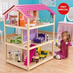 The Kidkraft So Chic Dollhouse stands nearly four feet tall and features three levels, 10 rooms and 360 degrees of imaginative fun! Big Doll House, Barbie Doll House, Barbie Dream, Wooden Barbie House, Barbie Dolls, Dollhouse Furniture Sets, Dollhouse Interiors, Wooden Dollhouse, Homemade Dollhouse