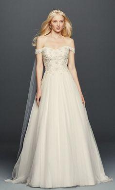 Romantic embellished off-the-shoulder A-line wedding dress; Featured Dress: Oleg Cassini