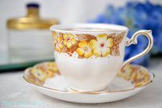 Royal Albert Yellow Dorothy Teacup and Saucer, English Bone china Tea Cup Set, Garden Tea Party, Birthday Gift,  ca. 1927-1935